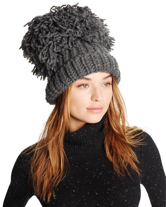 Knit Hat with Oversized Pom-Pom