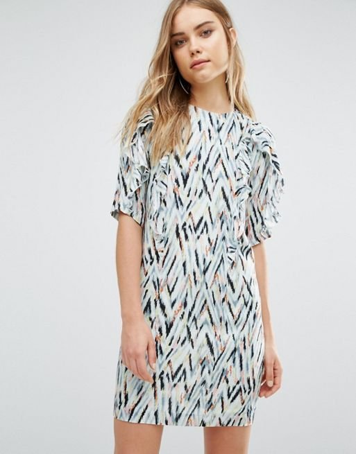 Zig Zag Print Shift Dress
