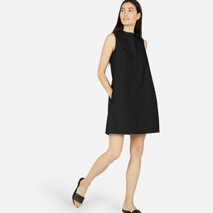 Cotton Poplin Sleeveless Shirt Dress
