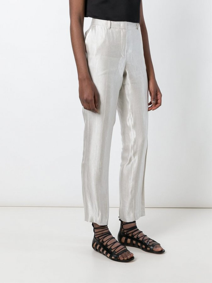 Metallic Shine Straight Leg Trousers