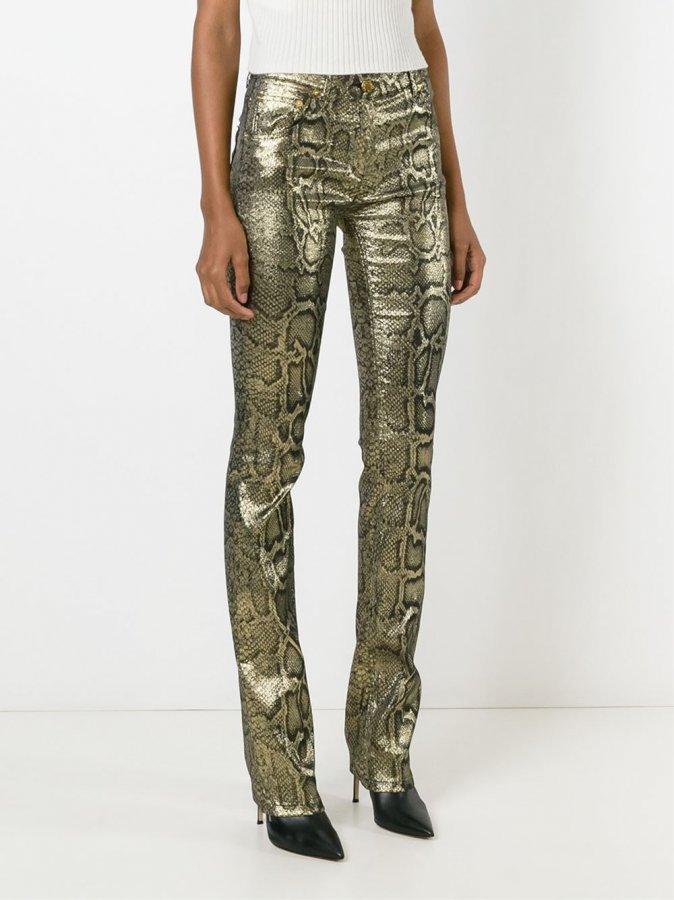 snakeskin print trousers