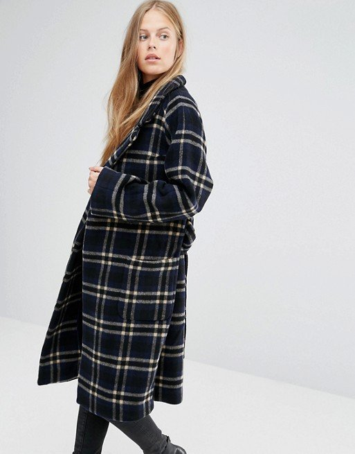 Tie Waist Long Coat in Blue Check