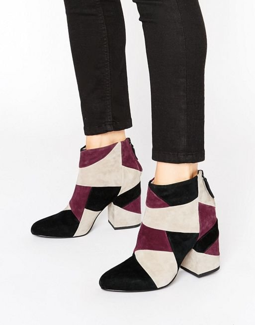 Jessica Wine Leather Patchwork Heeled Boots