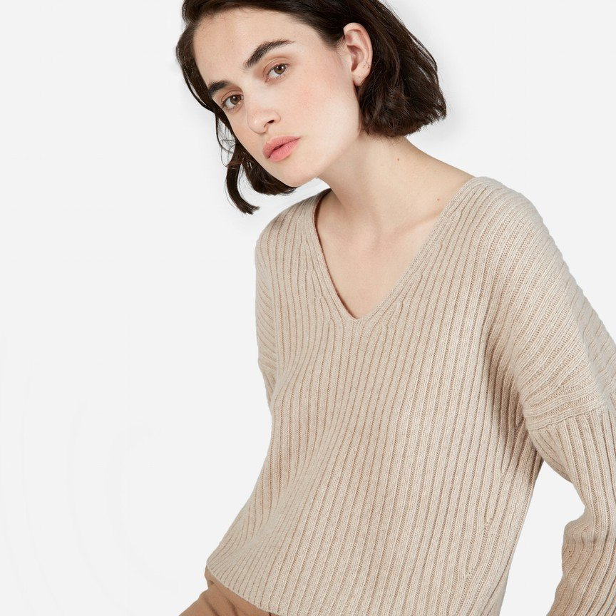 The Ribbed Wool-Cashmere Crop V-Neck