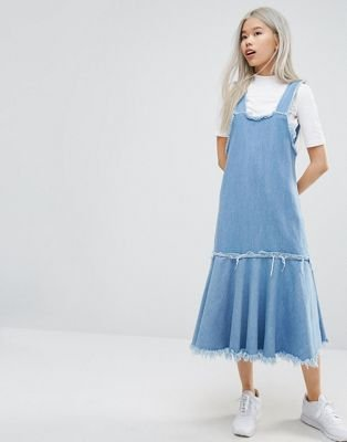 STYLENANDA Frayed Edge Denim Pinafore Dress at asos.com
