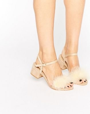 Boohoo Fluffy Trim Block Heel at asos.com