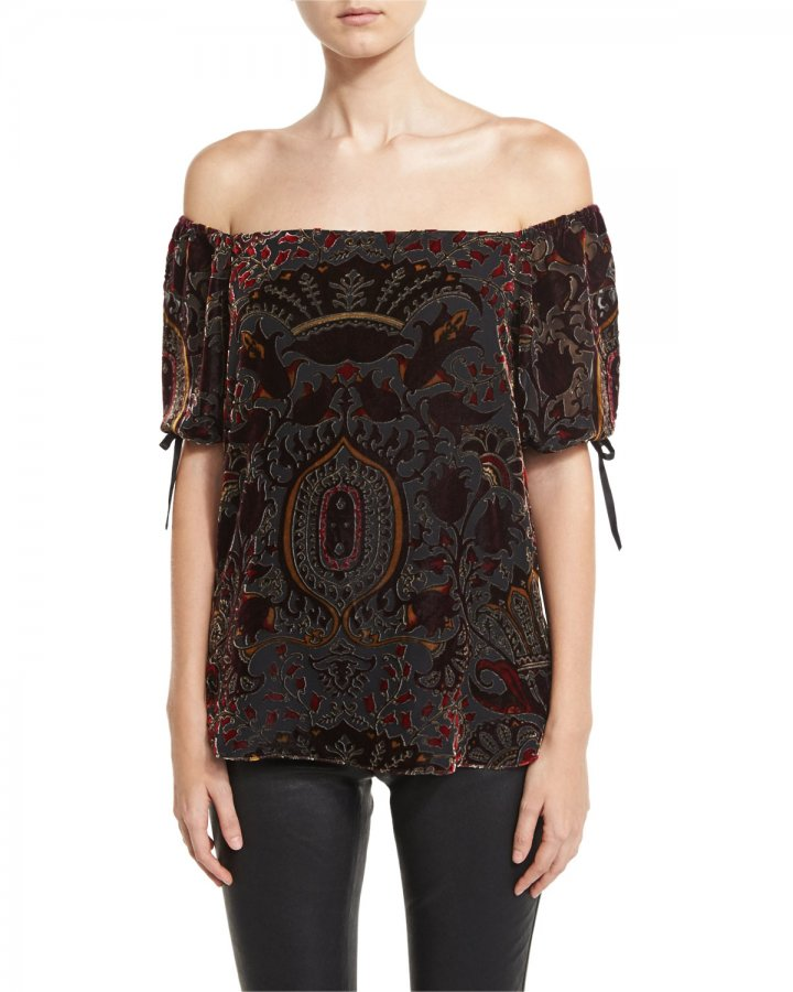 Alecia Paisley Velvet Off-the-Shoulder Top