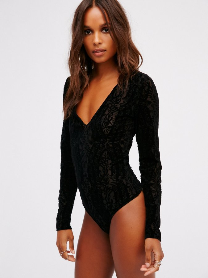 On The Dance Floor Velvet Bodysuit