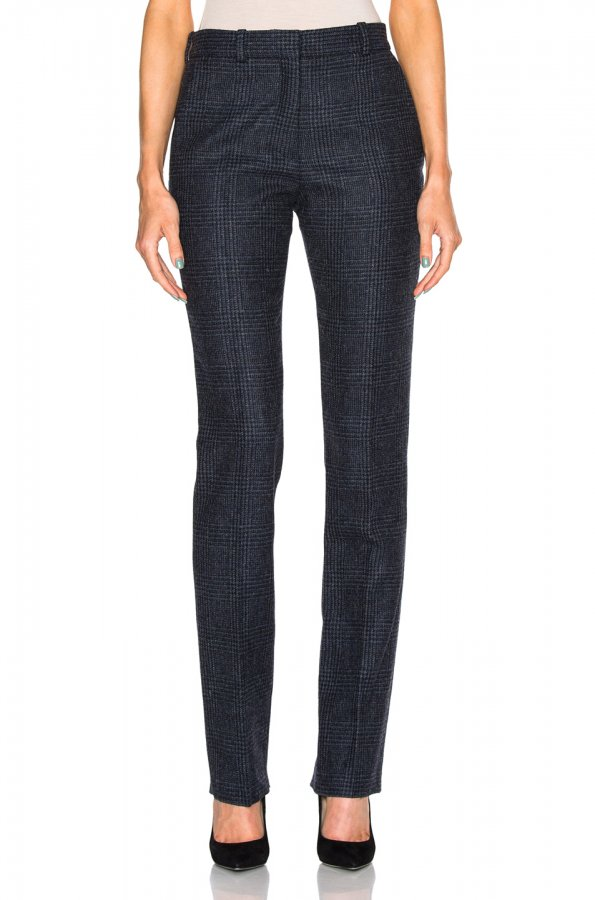 Prince Of Wales Wool Slim Leg Trousers