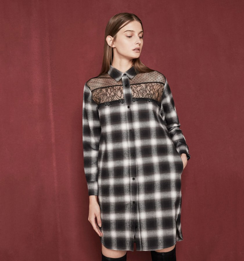 RAJA Shirt dress with lace details