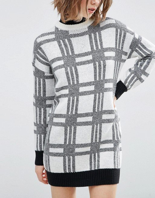 Knitted Dress in Check with High Neck