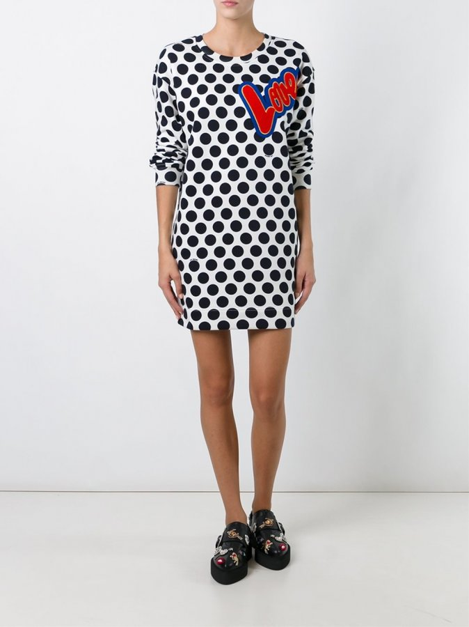 Polka Dot Sweatshirt Dress