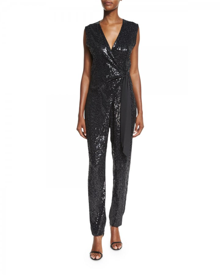 Orianna Sequined Wrap Jumpsuit