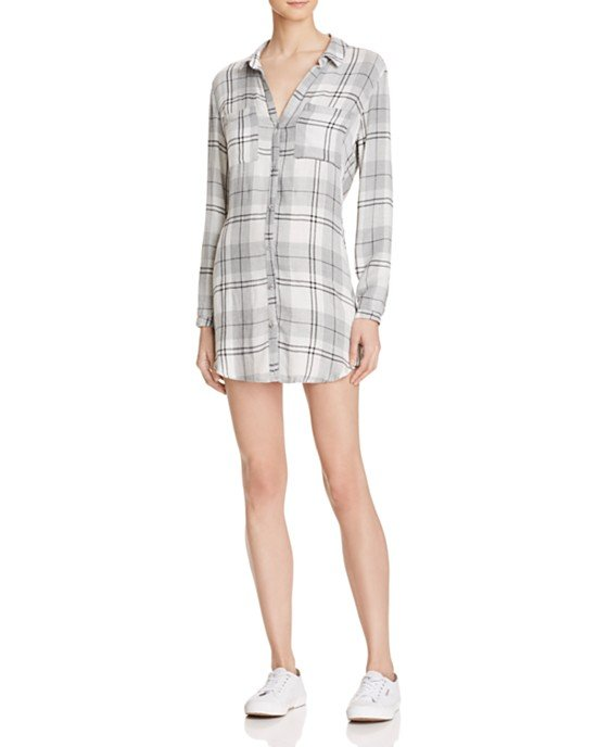 Hipster Plaid Shirt Dress