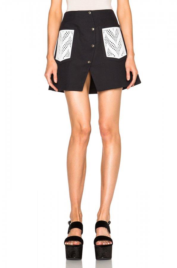 Cotton Blend Twill Skirt
