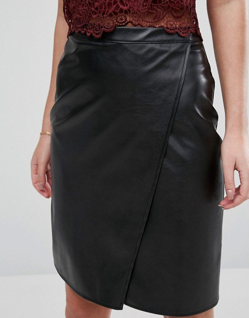 New Look Leather Look Wrap Front Midi Skirt