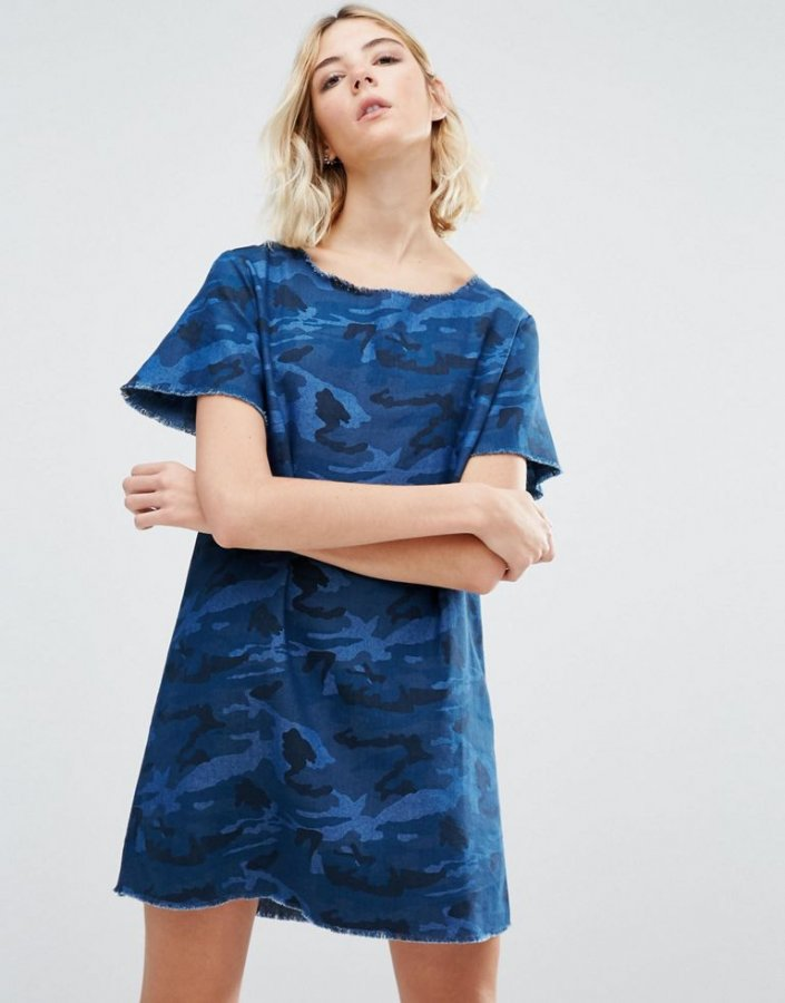 Camo Print A-Line Denim Dress