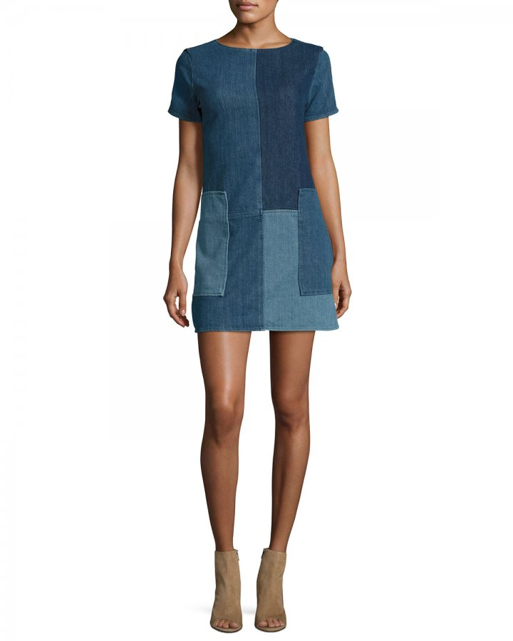 Luna Rosemary Patchwork Denim Shift Dress