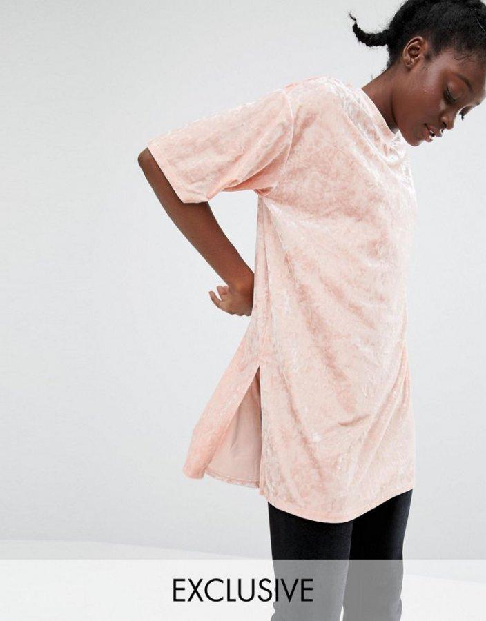 Monki Longline Velvet T-Shirt
