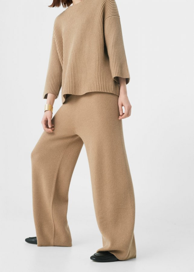 Wool-blend palazzo trousers