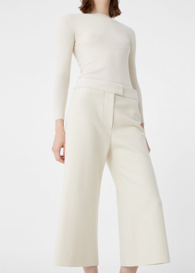 Wool-blend cropped trousers