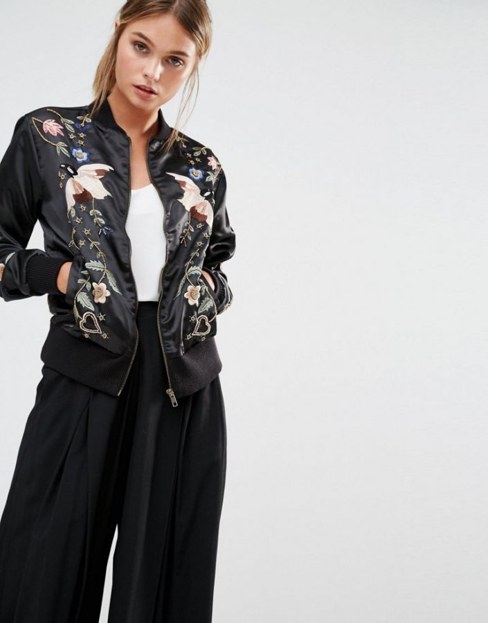 Embroidered Embellished Bomber Jacket