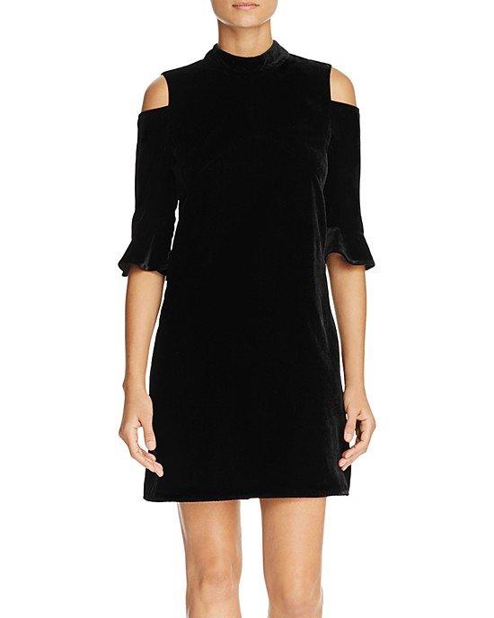 Evelyn Velvet Cold Shoulder Dress