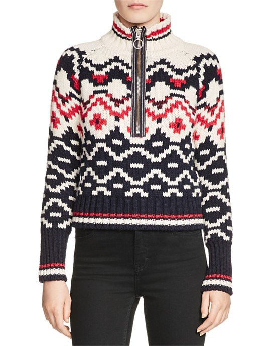 Mathilde Zip-Front Patterned Sweater