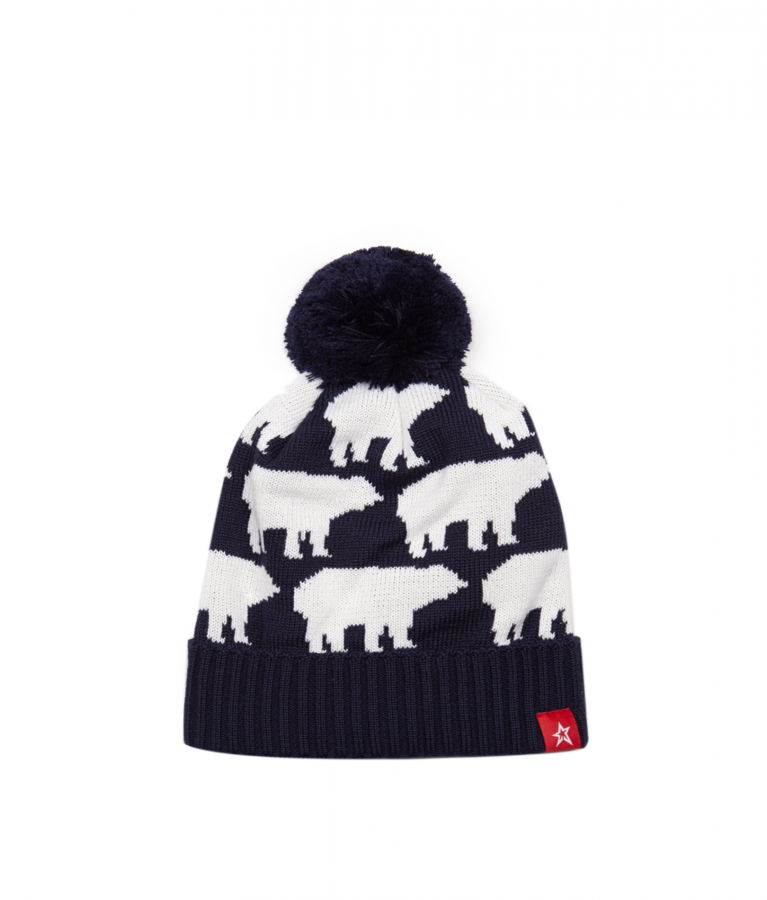 Multi Bear pompom beanie hat