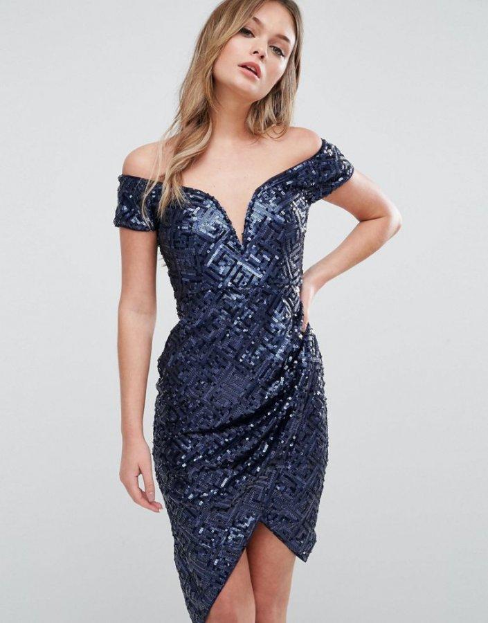 Off Shoulder Wrap Dress In Sequin