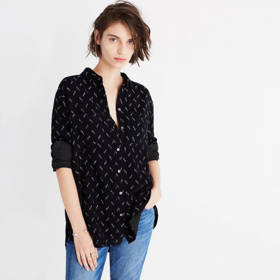 Oversized Ex-Boyfriend Shirt in Zigzag Ikat