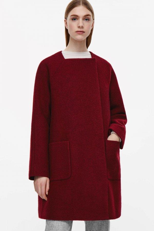 Square-neck A-line coat
