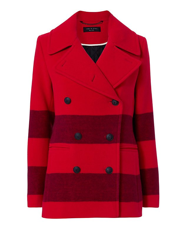 Skye Stripe Pea Coat