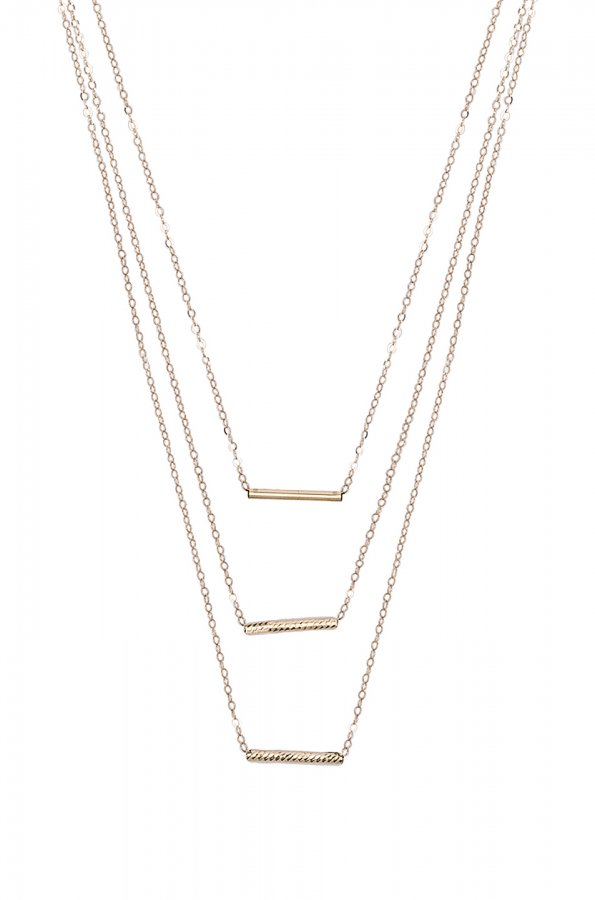 14K Gold 3 Bar Necklace in Gold
