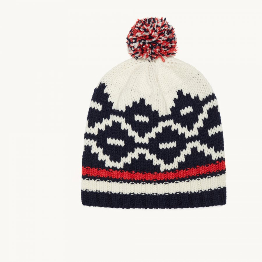 BRAVO Jacquard knit beanie with pompom