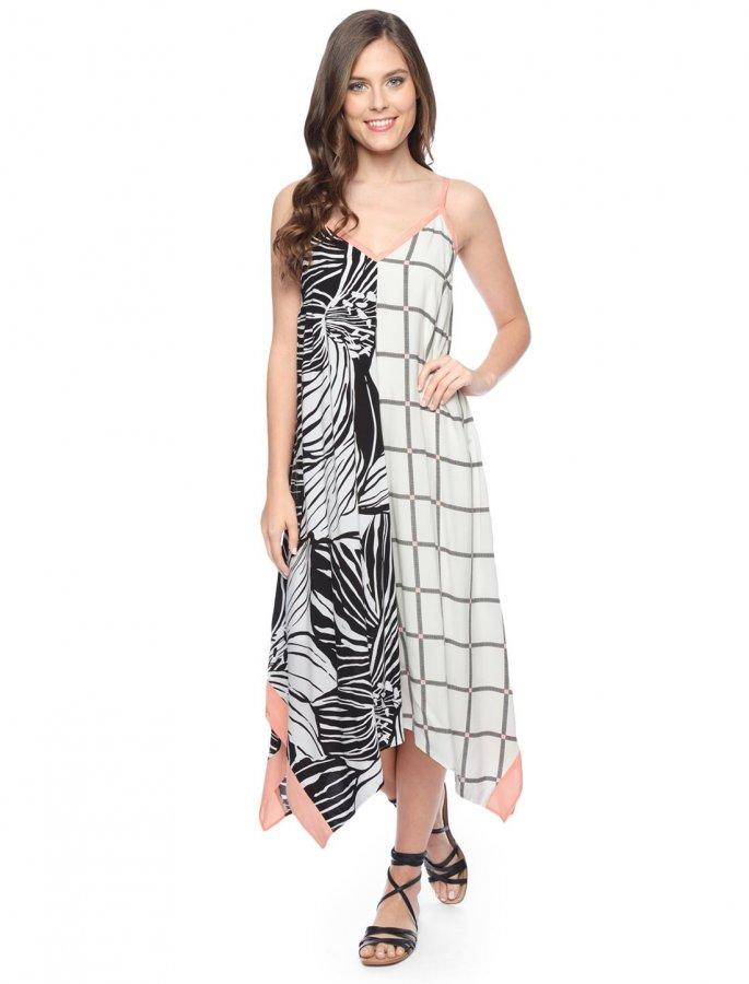 Floral Plaid Hankerchief Dress