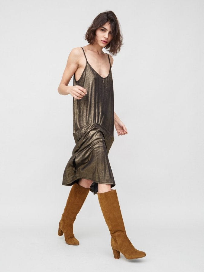 Holiday Tank Dress in Gold