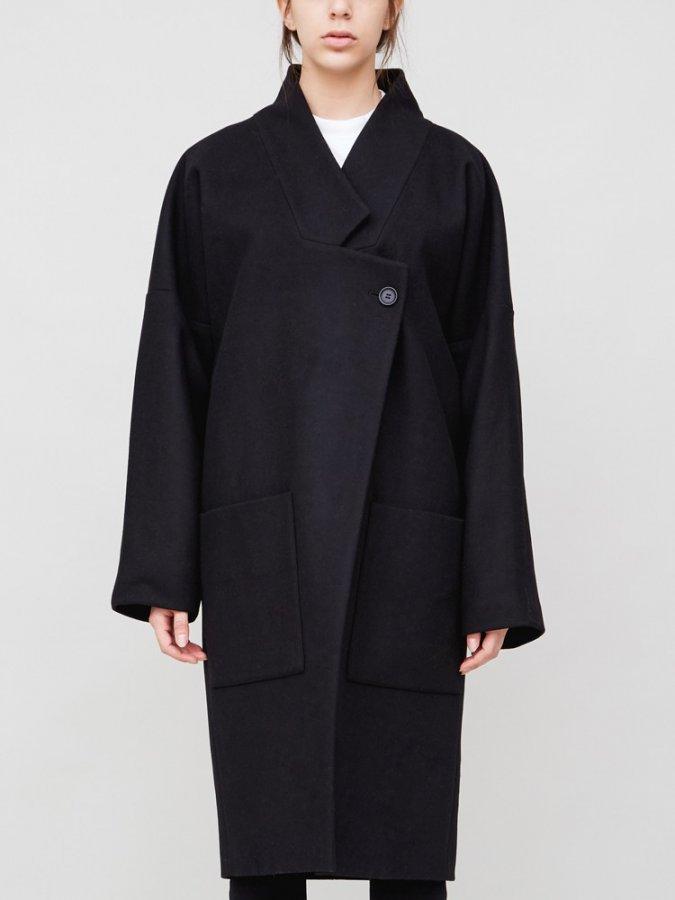 Dropped Lapel Coat in Black