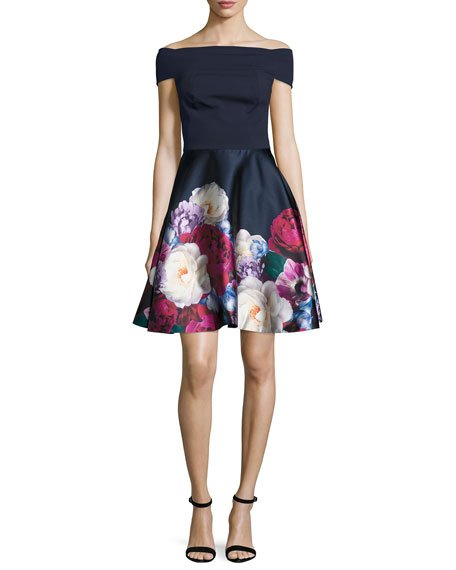 London Nersi Blushing Bouquet Floral Bardot Dress