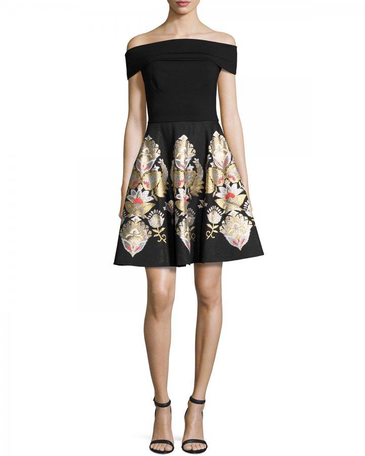 Airlo Opulent Jacquard Bardot Dress