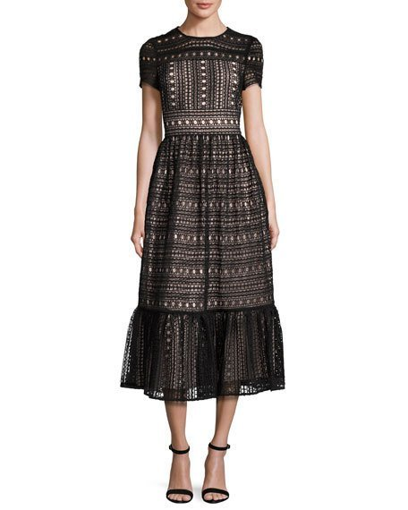 Short-sleeve lace midi dress, black