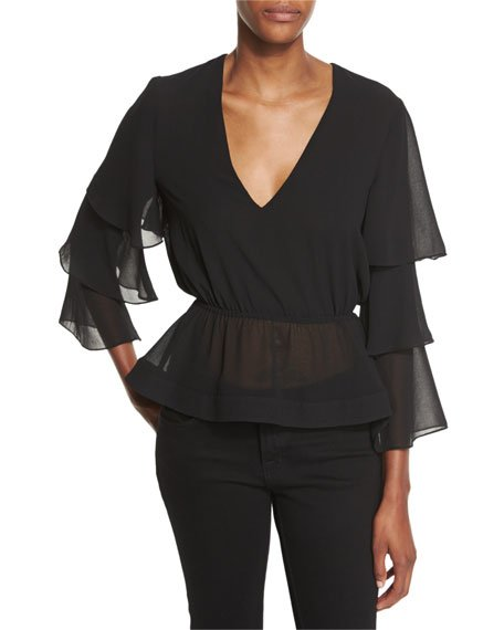 Tier Sleeve V-Neck Top