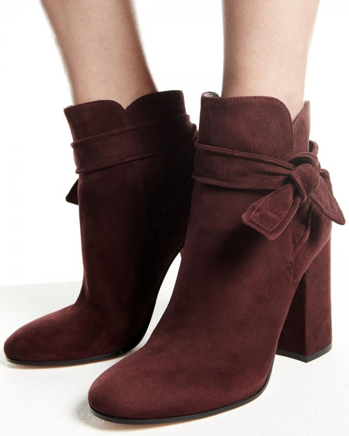 Leslie Suede Ankle-Tie Bootie, Royale Red