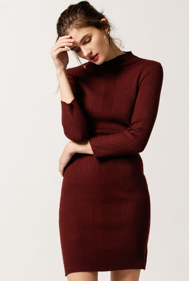 L/S Mock Neck Mini Dress