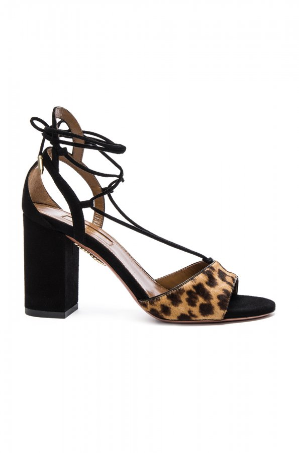 Suede Austin Sandals in Caramel Leopard