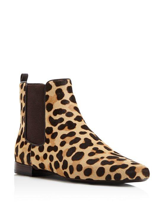 Orsay Leopard Print Calf Hair Chelsea Booties