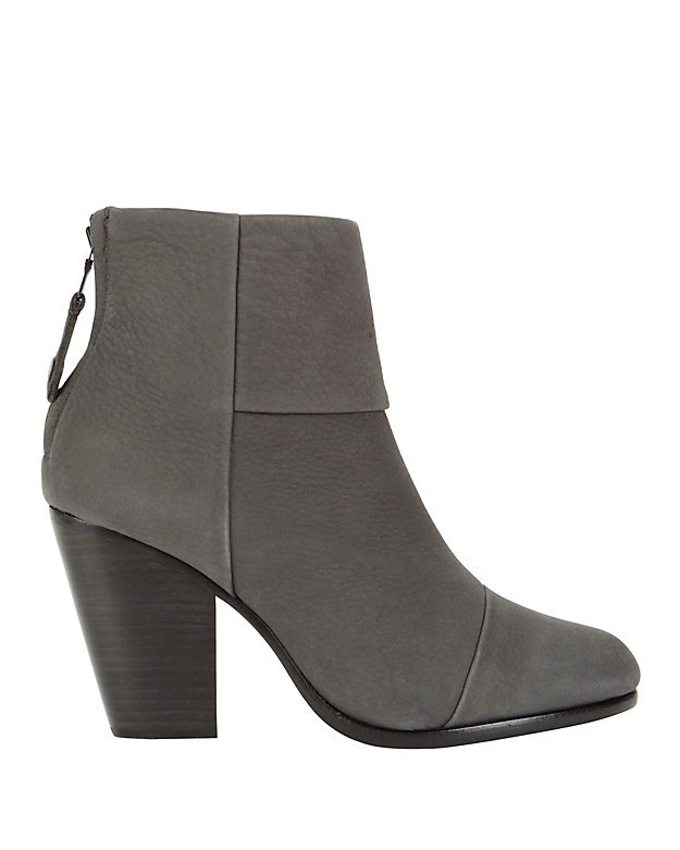 Classic Newbury Charcoal Leather Booties