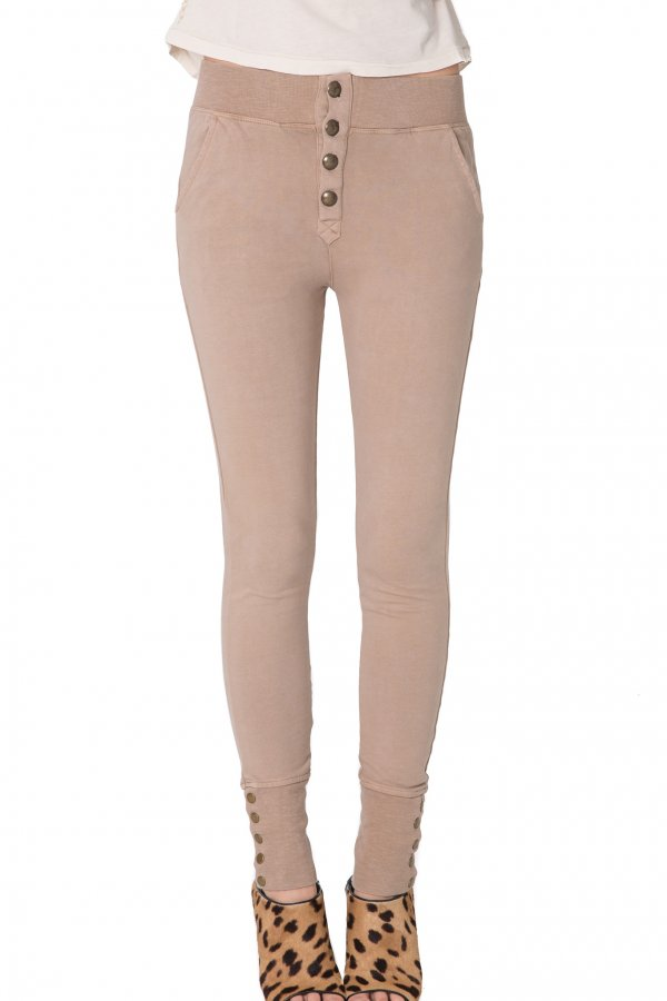 Sweatpants w/ Brass Buttons - Rose