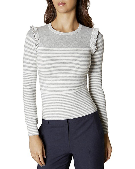 Ruffle-Trim Striped Sweater