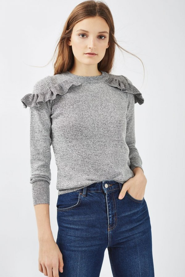 PETITE Ruffle Shoulder Knit Sweatshirt